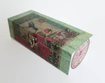 Decoupage Wooden Tea Box - Shabby Chic Kitchen Storage -  Hummingbird Decoupage Caddy