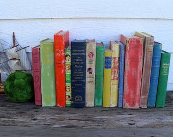 Set of 14 Vintage Books - Antique Book Decor - Photo Props -Wedding Decor -Centerpieces -Colorful, Rustic Books - Rainbow - Blue, Green, Red