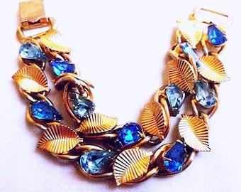 """Blue Rhinestone Link Bracelet Two Tone Color Blue Lisner Gold Leaves 7.5"""" Vintage"""