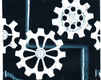 COGS - Hand-Made Prints - MECHANICAL - Repeat Pattern - Woodcut Relief Print - Greyscale - Cool Blue Tones