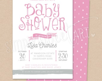 BS027 DIGITAL Baby Shower Party Invitation - CUTE BANNER - sweet design whimsical type printable invite mint pink aqua blue boy girl