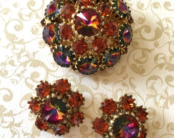 Gorgeous 1950's Rhinestone Brooch and Earrings Set with Beautiful Rivoli Stones