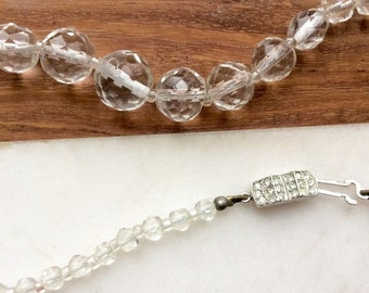SALE 40s Vintage clear glass hand cut necklace strand with rhinestone clasp / Sugar Candy