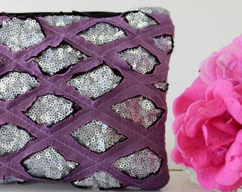 Silver sequin and lilac chiffon clutch,Modern  and glamorous.Bridesmaid clutch, weeding clutch. Sale. Womens gift. Wife gift. Gift for her