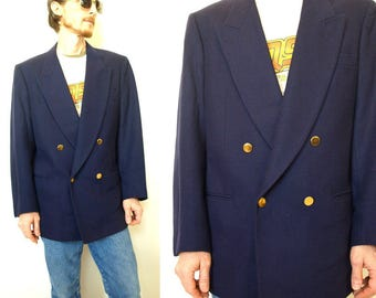 Vintage navy blue wool double breasted nautical suit jacket blazer with gold buttons sportcoat mens M or L 40 42 medium large