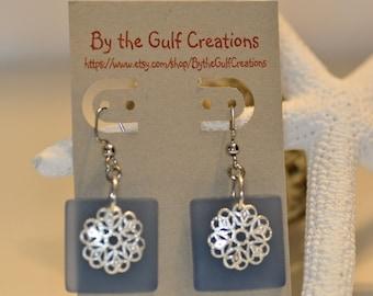 Dangle Earrings, Sea Glass, Blue, Filigree Beads,  For Her