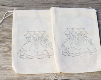 Set of 10  Hand stamped Bridal Shower Wedding Prom Party Muslin Gift Party Favor Bags 100% organic made in america