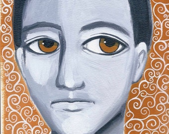 ORIGINAL acrylic painting on thick mixed media paper titled: BRAVE BOY.