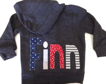 Personalized sweatshirt Baby or Toddler Hoodie with Monogram intial  and name for boy