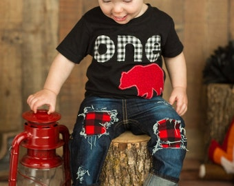 Lumberjack First Birthday Shirt plaid woodland bear Boys Shirt One