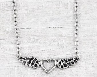 Forever In My Heart Necklace - Heart Wing Necklace - Wing Necklace - N723