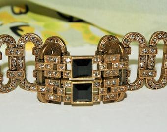 HEIDI DAUS DECO Style Onyx Jeweled Bracelet