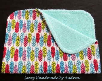 Burp Cloth with Feathers, Feathers Burp Cloth, Flannel and Terry Cloth Burp Cloth
