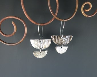 Reticulated Silver Earrings, Handmade Earrings, Artisan Earrings, Metalsmith, Silversmith, Half Circle Earrings, Ready to Ship