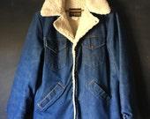Vintage Wrangler Wrange Coat Denim and Shearling 70's Jacket Size Medium