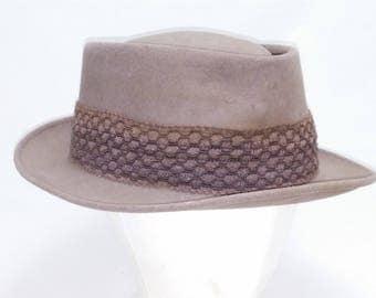 Vintage Porkpie Hat, Imported Coney Fur, by A.D. Sanders Clothing Burlington, Kansas - 3XXX - Size 7