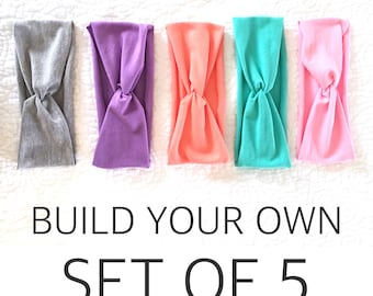 Bundle & Save // Build Your Own Set of 5 // Twisted Jersey Headband // Baby Girl Headband // Infant // Newborn // Adult // Floral :JGT