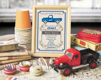 Truck Birthday Banner Invitation Party Baby Shower - Blue Vintage - digital printable