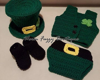Baby Leprechaun Top Hat, Vest, Diaper Cover & Booties - Paddy Green Newborn Beanie Boy Girl Costume Winter  Photo Prop Cap Christmas Outfit