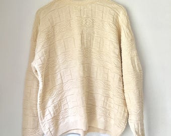 ivory sweater, grunge clothing, 90s sweater, natural color, boho, embossed sweater, 1990s pullover, oversized sweater, XL sweater cream