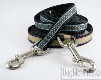 "Matching Dog Leash for 3/4"" - 19mm Wide Dog Collars // Dots // Squares // Flag // Shamrocks // Houndstooth"