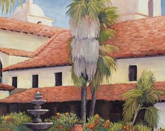 Santa Barbara art, Santa Barbara Mission,Santa Barbara prints,  mission painting, California Missions, Santa Barbara art,
