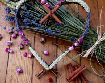 Handmade  Handfasting Five Blessings Rustic Twig Heart Wreath: Love, Passion, Abundance, Protection, Peace