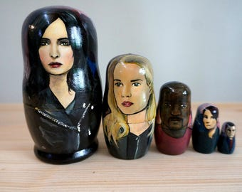 Set of Five Jessica Jones Hand Painted Russian Matryoshka Art Nesting Dolls