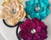 Flower Pony Tail Elastic, Hair Tie, Pony Tail Holder, Pink, Turqouise, Stocking Stuffer Sale, Set of 3