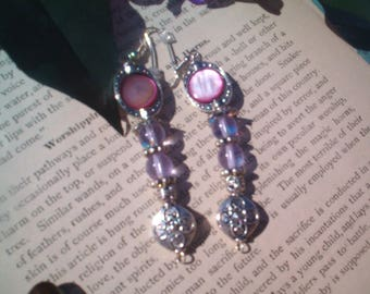 SILVER and Pink  Beaded Earrings, Shell and Beaded Earrings, Romantic, Quaint, Long pierced Dangle, Siver & Pink, Handcrafted Artisan