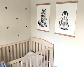 Baby Penguin black and white Hand-drawn Canvas Print A2