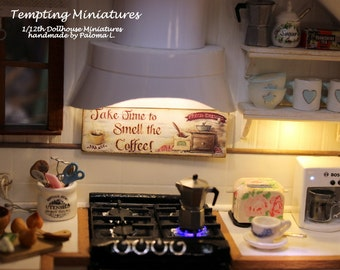 SMELL The Coffee Sign - 1:12th Dollhouse Miniature