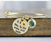 Cyber Monday Sale Personalized I Love You To The Moon And Back Bracelet - Hand Stamped Jewelry - Kids Names - Mother Jewelry - Gift For Gran