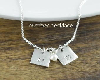 Mother's Day Gift, Square Necklace, New Mom Necklace, Number Necklace, Number Charm, Gifts for Mom, Hand Stamped Personalized Necklace