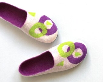 Women wool slippers - white purple and lime green geometric felted slippers - Mothers day gift - made to order - gift for her