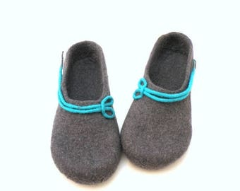Women felted slippers -  handmade wool clogs - grey turqoise felt slipper - made to order - autumn winter fashion - Mothers day gift