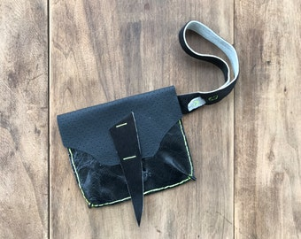 Black Leather Wristlet with White Leather and Cowhide Detail