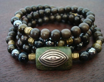 Men's Eye of Shiva Mala // Blue Tiger's Eye, Hematite, & Obsidian Mala Necklace or Wrap Bracelet // Yoga, Buddhist, Prayer Beads, Jewelry