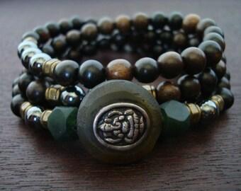 Men's Jade Ganesha Mala // Jade & Hematite Mala Necklace or Wrap Bracelet // Yoga, Buddhist, Prayer Beads, Jewelry