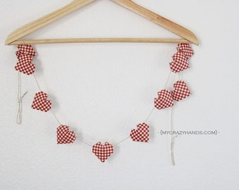 origami 3D heart garland || heart banner || heart bunting || party garland | {heart like a balloon} -deep red plaid