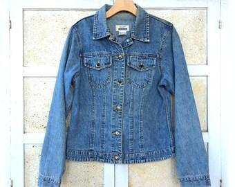 Vintage Blue Jean Jacket, Wrangler Riata Faded Denim, Women's size L