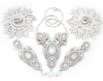 Soutache fancy wedding unusual set -long earrings and necklace - elegant and romantic hand made jewelry for bride - Frozen Opals