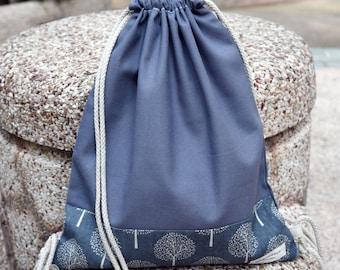 Drawstring backpack/ Cotton backpack/ Drawstring bag/ handmade backpack/ Gym bag/ Swim bag ~ Small trees (B101)