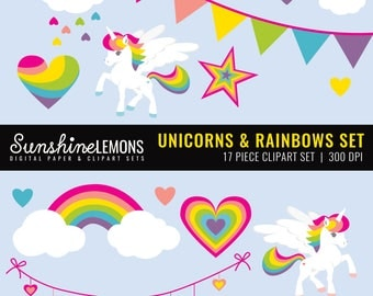 Unicorns and Rainbows Clipart - Unicorn Clipart - Rainbow Clipart - Clipart pack set of 17 - COMMERCIAL USE Read Terms Below