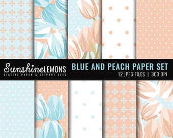 Blue and Peach Digital Scrapbooking Paper Set - COMMERCIAL USE Read Terms Below
