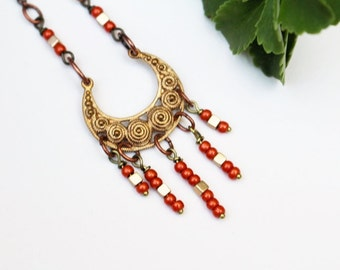 Orange Bead Necklace, Mixed Metal, Tribal Necklace, Beaded Jewelry, Short Necklace, Seed Bead, Brass, Pendant Necklace