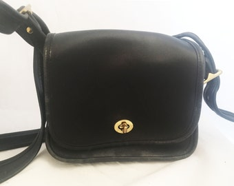 Coach Purse - Small Black Leather Messenger Legacy Trail Saddle Bag 9965