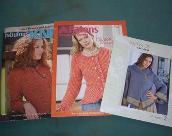 Knitting Pattern Books...Set of Three Newer Styles Knitting Books..Patons Divine Decadence..Manos Silk Blends..Numero 2..Fabulous Knits..