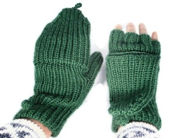 Womens Convertibles Hand Knitted Hobo Gloves Mittens with Longer Cover