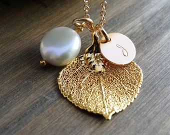 Gold leaf necklace, Aspen leaf necklace, Real leaf jewelry Initial Necklace Personalized Jewelry